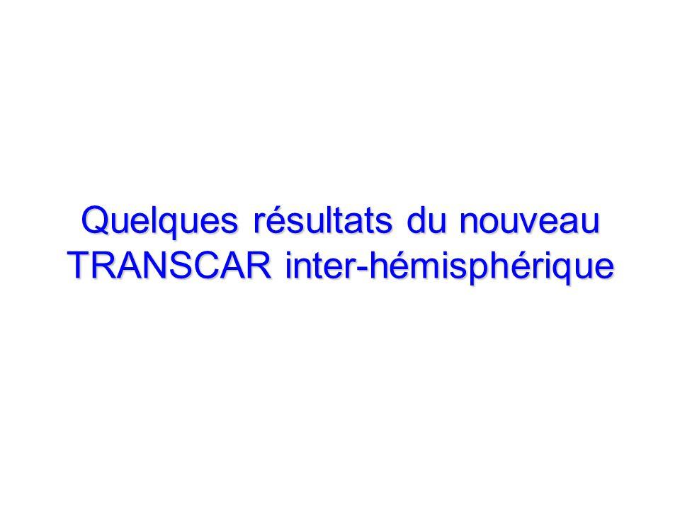 Quelques résultats du nouveau TRANSCAR inter-hémisphérique