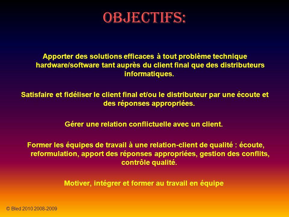 Objectifs: Apporter des solutions efficaces à tout problème technique hardware/software tant auprès du client final que des distributeurs informatiques.