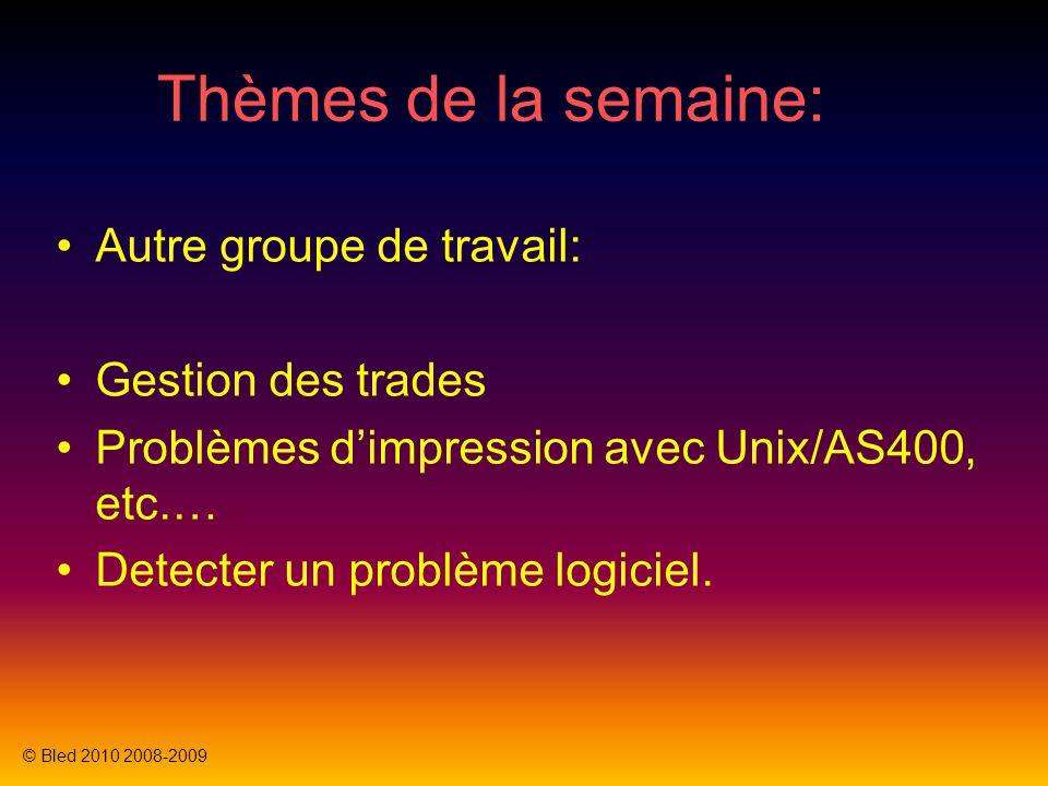 Thèmes de la semaine: Autre groupe de travail: Gestion des trades Problèmes dimpression avec Unix/AS400, etc.… Detecter un problème logiciel.