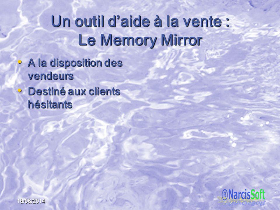 18/06/2014 Un outil daide à la vente : Le Memory Mirror A la disposition des vendeurs A la disposition des vendeurs Destiné aux clients hésitants Destiné aux clients hésitants