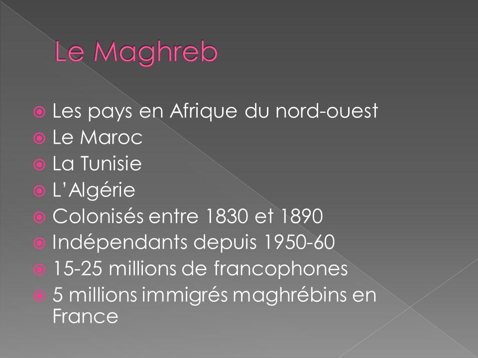 Les pays en Afrique du nord-ouest Le Maroc La Tunisie LAlgérie Colonisés entre 1830 et 1890 Indépendants depuis 1950-60 15-25 millions de francophones 5 millions immigrés maghrébins en France