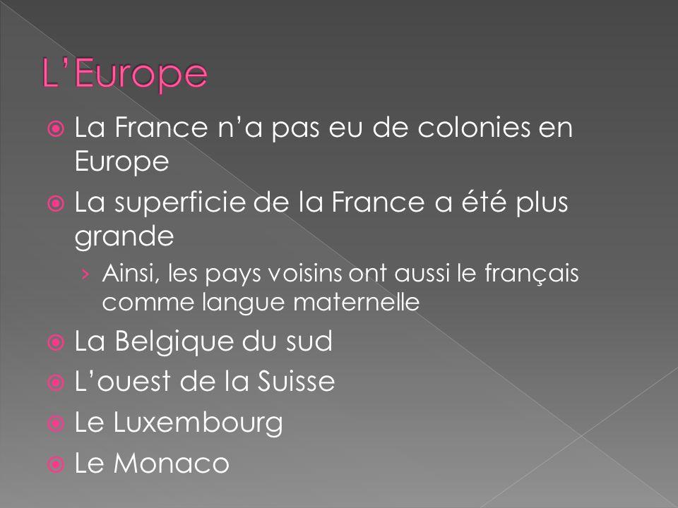 La France na pas eu de colonies en Europe La superficie de la France a été plus grande Ainsi, les pays voisins ont aussi le français comme langue maternelle La Belgique du sud Louest de la Suisse Le Luxembourg Le Monaco