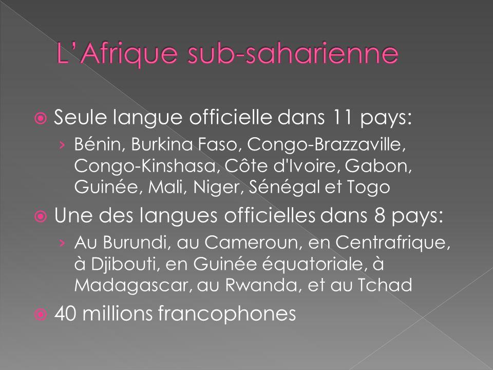 Seule langue officielle dans 11 pays: Bénin, Burkina Faso, Congo-Brazzaville, Congo-Kinshasa, Côte d Ivoire, Gabon, Guinée, Mali, Niger, Sénégal et Togo Une des langues officielles dans 8 pays: Au Burundi, au Cameroun, en Centrafrique, à Djibouti, en Guinée équatoriale, à Madagascar, au Rwanda, et au Tchad 40 millions francophones