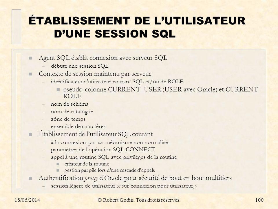 18/06/2014© Robert Godin. Tous droits réservés.100 ÉTABLISSEMENT DE LUTILISATEUR DUNE SESSION SQL n Agent SQL établit connexion avec serveur SQL – déb