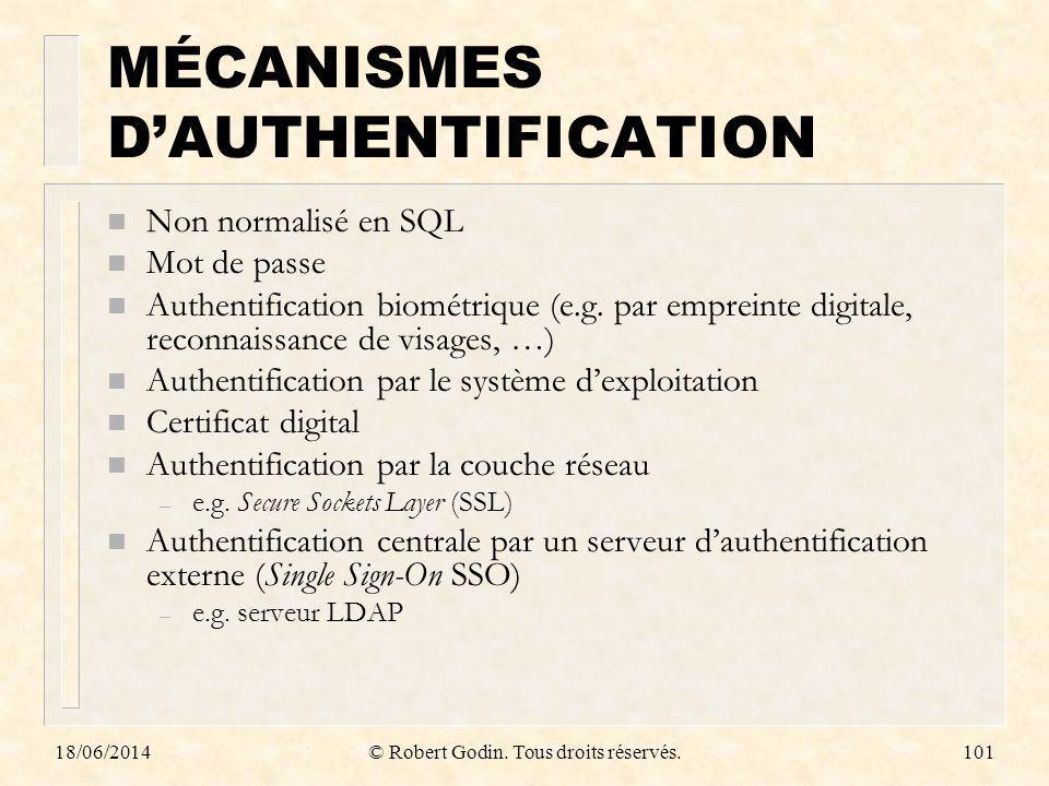 18/06/2014© Robert Godin. Tous droits réservés.101 MÉCANISMES DAUTHENTIFICATION n Non normalisé en SQL n Mot de passe n Authentification biométrique (