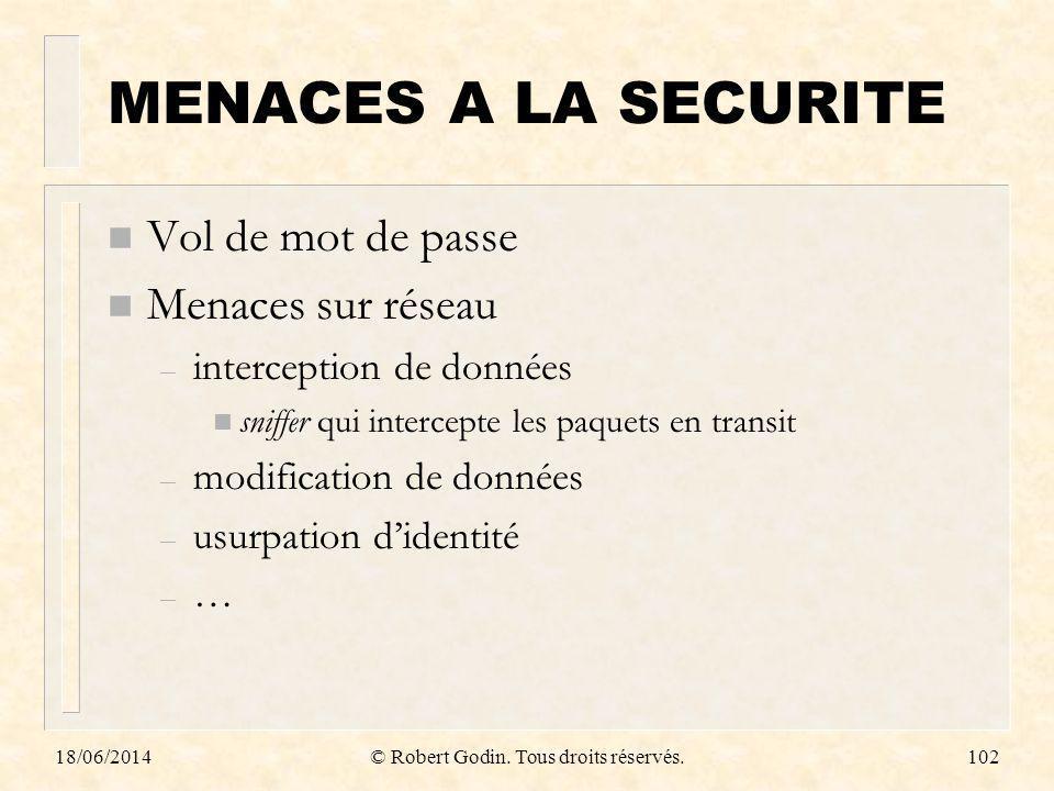 18/06/2014© Robert Godin. Tous droits réservés.102 MENACES A LA SECURITE n Vol de mot de passe n Menaces sur réseau – interception de données n sniffe