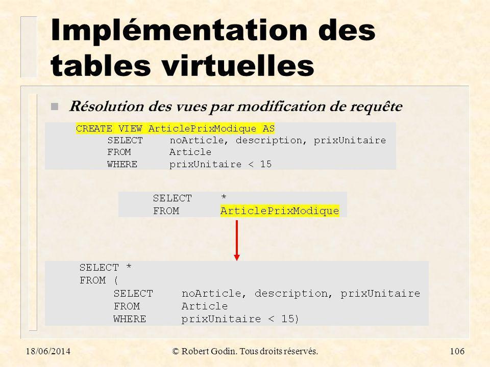 18/06/2014© Robert Godin. Tous droits réservés.106 Implémentation des tables virtuelles n Résolution des vues par modification de requête