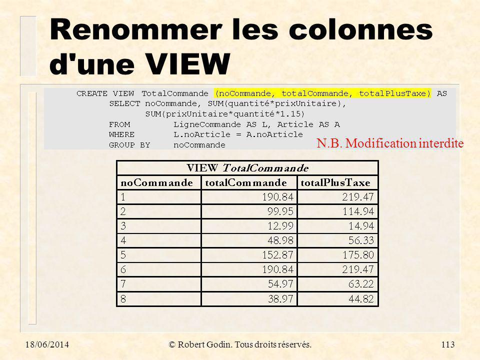 18/06/2014© Robert Godin. Tous droits réservés.113 Renommer les colonnes d'une VIEW N.B. Modification interdite