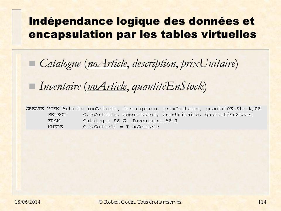 18/06/2014© Robert Godin. Tous droits réservés.114 Indépendance logique des données et encapsulation par les tables virtuelles n Catalogue (noArticle,