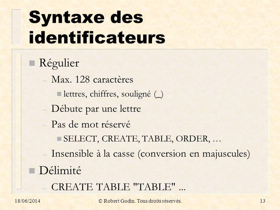 18/06/2014© Robert Godin. Tous droits réservés.13 Syntaxe des identificateurs n Régulier – Max. 128 caractères n lettres, chiffres, souligné (_) – Déb