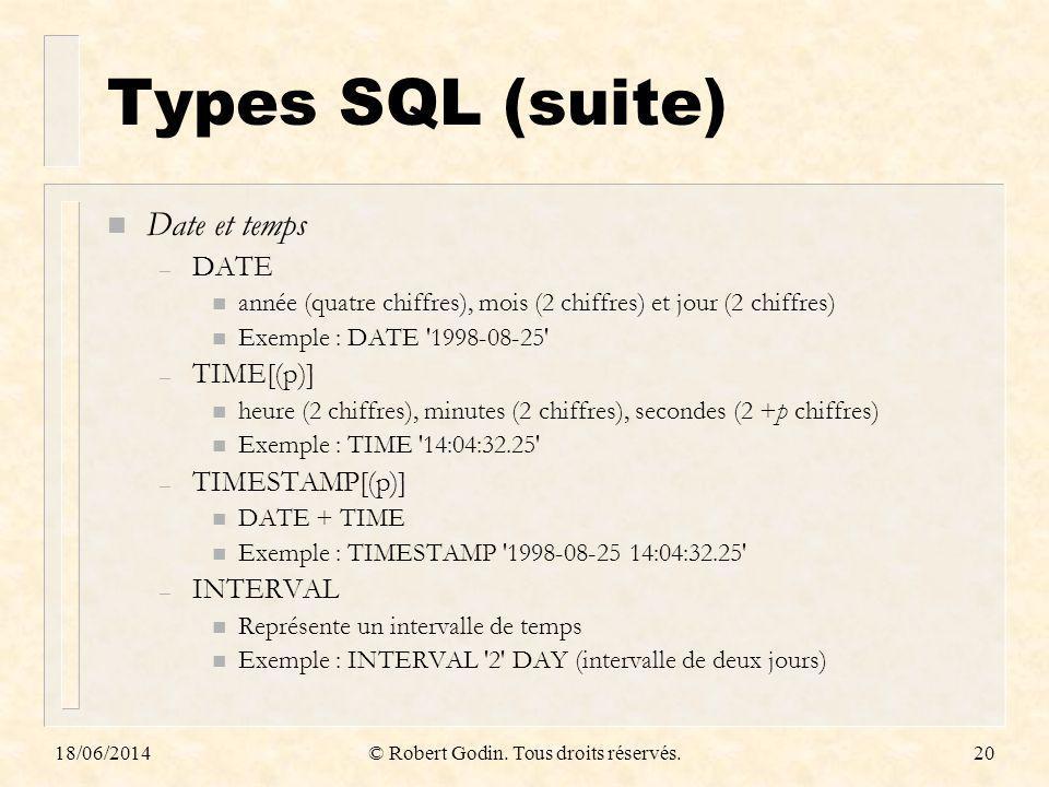 18/06/2014© Robert Godin. Tous droits réservés.20 Types SQL (suite) n Date et temps – DATE n année (quatre chiffres), mois (2 chiffres) et jour (2 chi