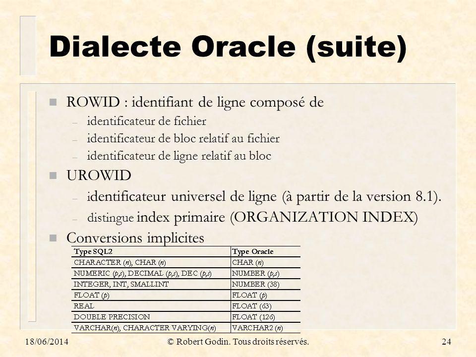 18/06/2014© Robert Godin. Tous droits réservés.24 Dialecte Oracle (suite) n ROWID : identifiant de ligne composé de – identificateur de fichier – iden