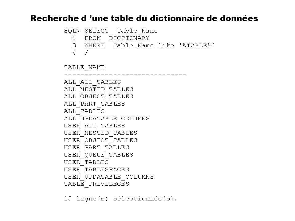 Recherche d une table du dictionnaire de données