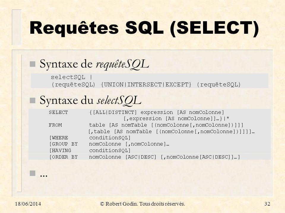 18/06/2014© Robert Godin. Tous droits réservés.32 Requêtes SQL (SELECT) n Syntaxe de requêteSQL n Syntaxe du selectSQL n...