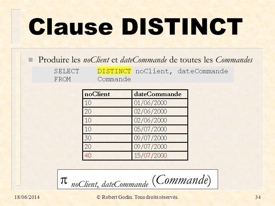 18/06/2014© Robert Godin. Tous droits réservés.34 Clause DISTINCT n Produire les noClient et dateCommande de toutes les Commandes noClient, dateComman