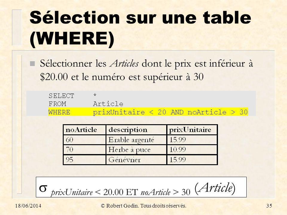18/06/2014© Robert Godin. Tous droits réservés.35 Sélection sur une table (WHERE) n Sélectionner les Articles dont le prix est inférieur à $20.00 et l