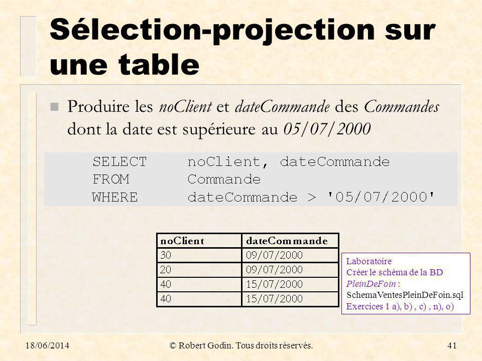 18/06/2014© Robert Godin. Tous droits réservés.41 Sélection-projection sur une table n Produire les noClient et dateCommande des Commandes dont la dat