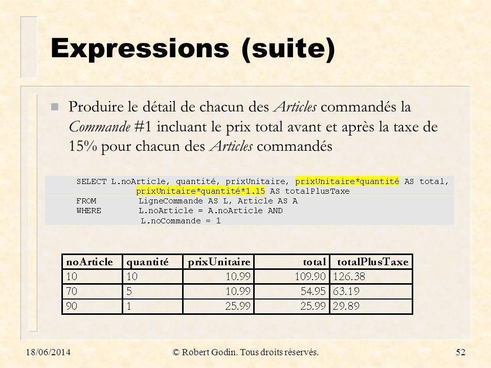 18/06/2014© Robert Godin. Tous droits réservés.52 Expressions (suite) n Produire le détail de chacun des Articles commandés la Commande #1 incluant le