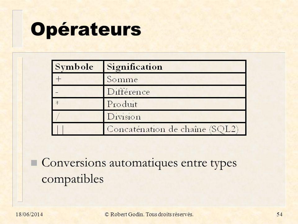 18/06/2014© Robert Godin. Tous droits réservés.54 Opérateurs n Conversions automatiques entre types compatibles