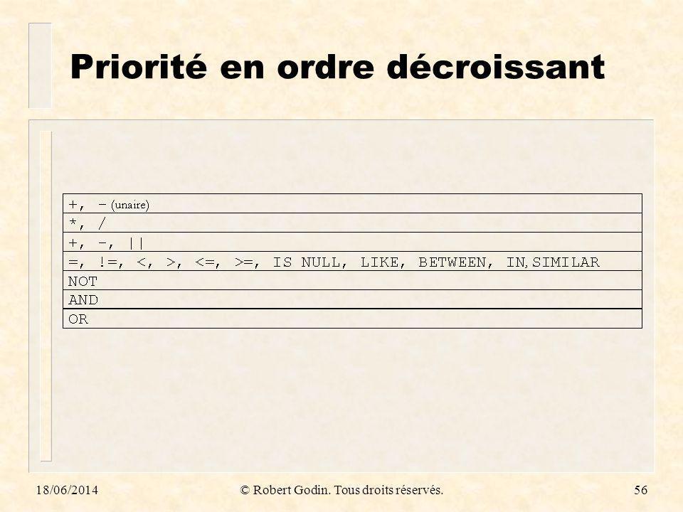 18/06/2014© Robert Godin. Tous droits réservés.56 Priorité en ordre décroissant