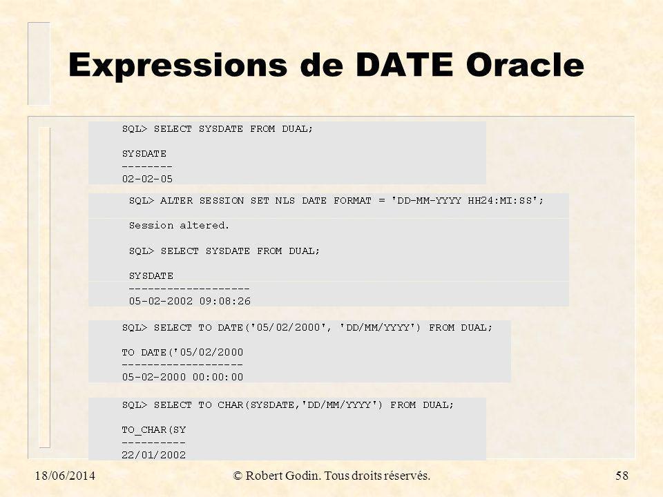18/06/2014© Robert Godin. Tous droits réservés.58 Expressions de DATE Oracle