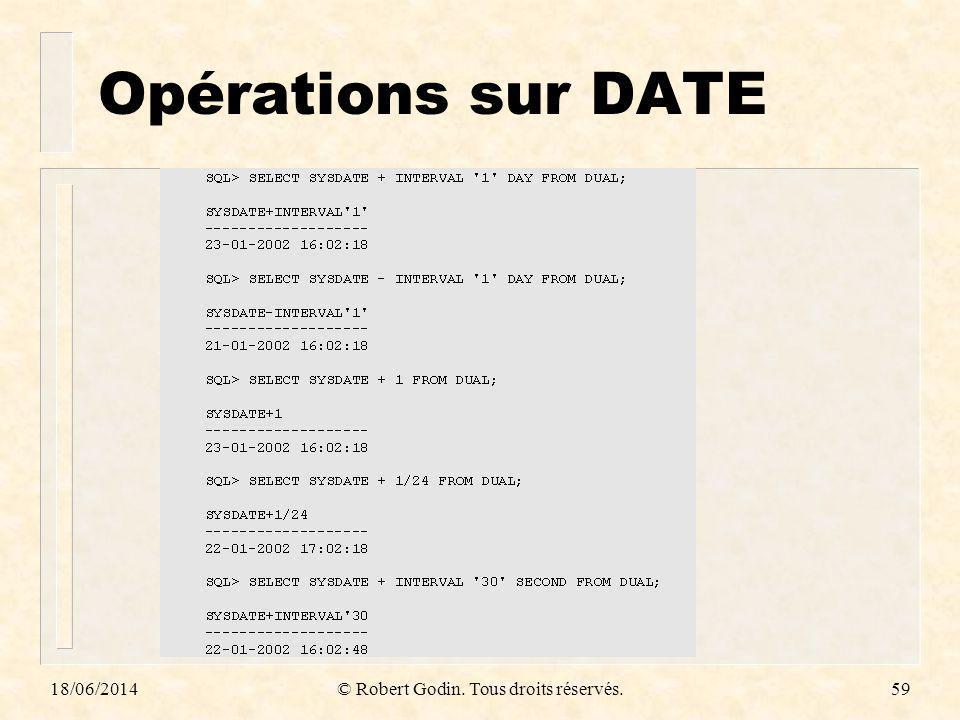 18/06/2014© Robert Godin. Tous droits réservés.59 Opérations sur DATE