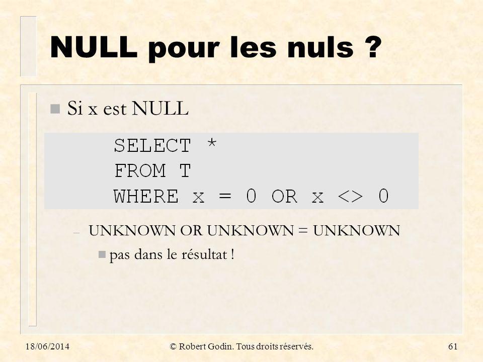 18/06/2014© Robert Godin. Tous droits réservés.61 NULL pour les nuls ? n Si x est NULL – UNKNOWN OR UNKNOWN = UNKNOWN n pas dans le résultat !