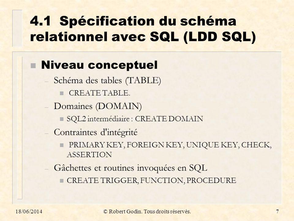 18/06/2014© Robert Godin. Tous droits réservés.7 4.1Spécification du schéma relationnel avec SQL (LDD SQL) n Niveau conceptuel – Schéma des tables (TA