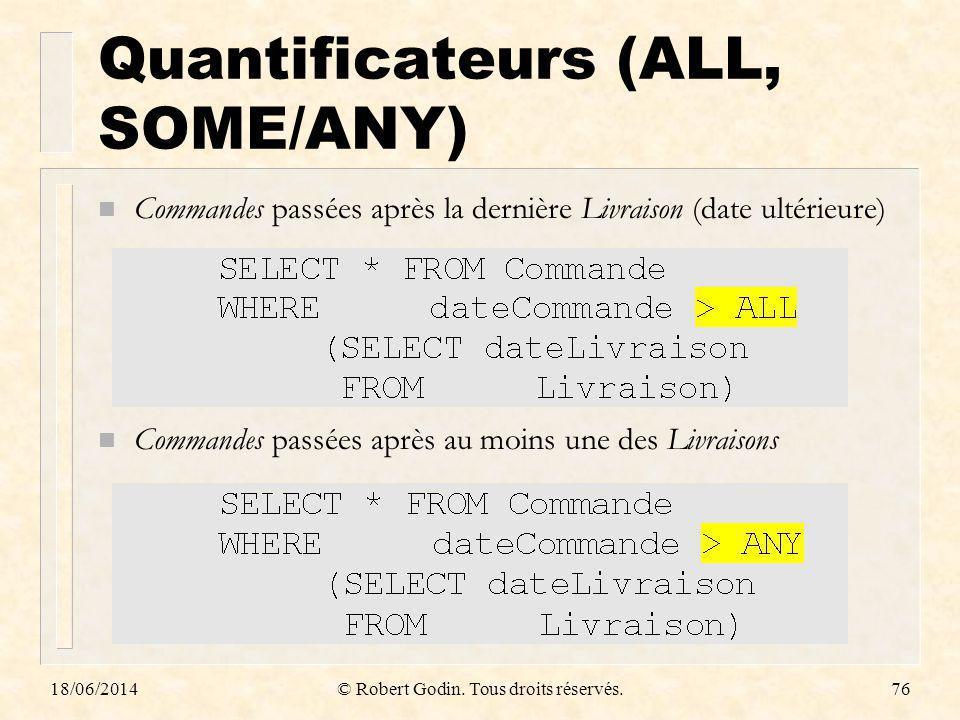 18/06/2014© Robert Godin. Tous droits réservés.76 Quantificateurs (ALL, SOME/ANY) n Commandes passées après la dernière Livraison (date ultérieure) n