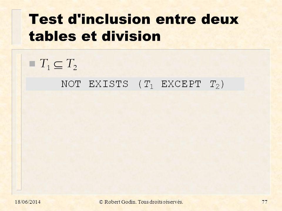 18/06/2014© Robert Godin. Tous droits réservés.77 Test d'inclusion entre deux tables et division n T 1 T 2
