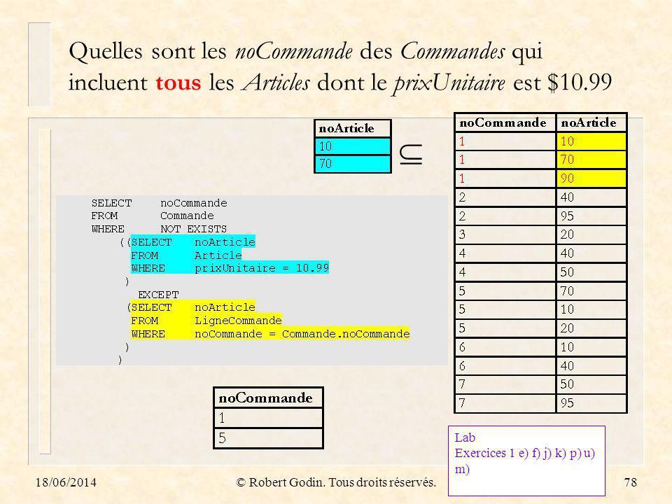 18/06/2014© Robert Godin. Tous droits réservés.78 Quelles sont les noCommande des Commandes qui incluent tous les Articles dont le prixUnitaire est $1
