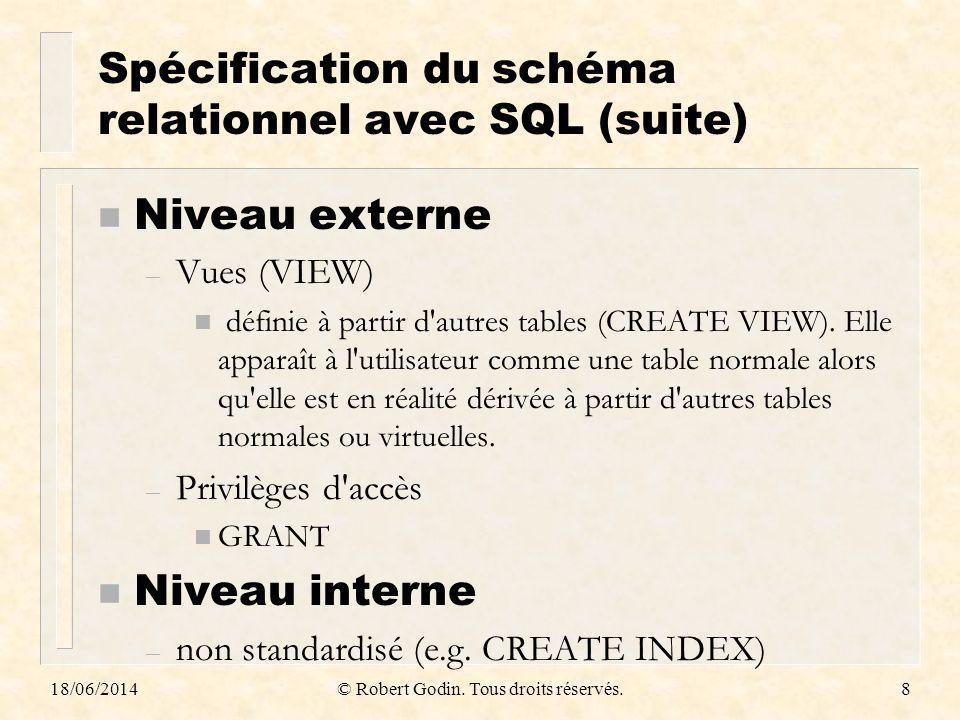 18/06/2014© Robert Godin. Tous droits réservés.8 Spécification du schéma relationnel avec SQL (suite) n Niveau externe – Vues (VIEW) n définie à parti