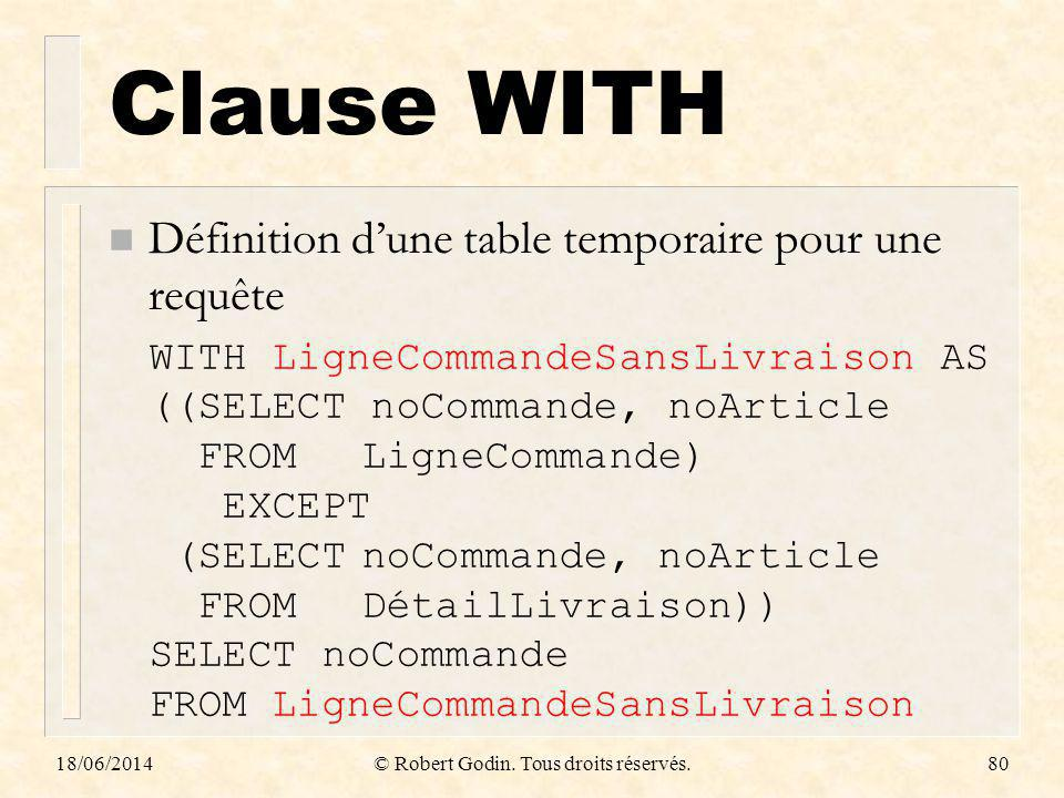 Clause WITH n Définition dune table temporaire pour une requête 18/06/2014© Robert Godin. Tous droits réservés.80 WITH LigneCommandeSansLivraison AS (