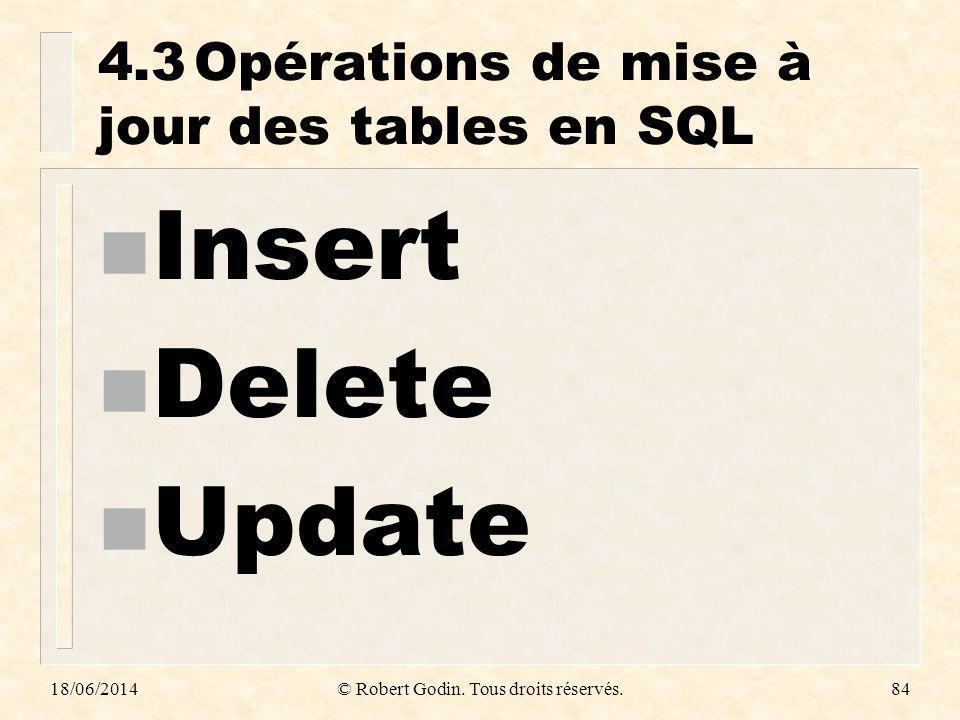 18/06/2014© Robert Godin. Tous droits réservés.84 4.3Opérations de mise à jour des tables en SQL n Insert n Delete n Update