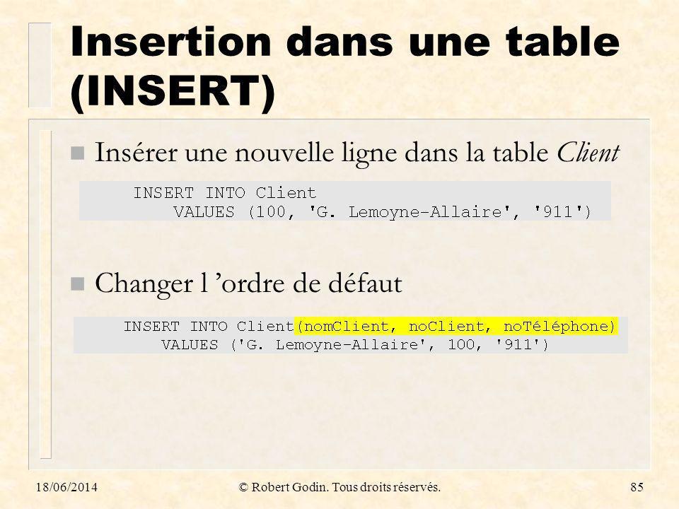 18/06/2014© Robert Godin. Tous droits réservés.85 Insertion dans une table (INSERT) n Insérer une nouvelle ligne dans la table Client n Changer l ordr