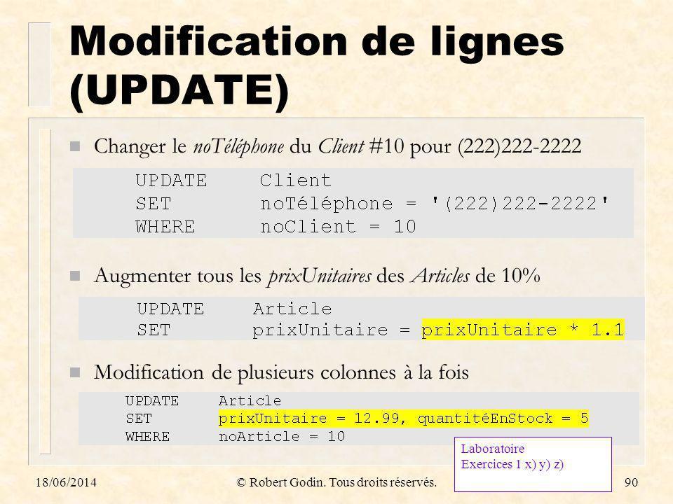 18/06/2014© Robert Godin. Tous droits réservés.90 Modification de lignes (UPDATE) n Changer le noTéléphone du Client #10 pour (222)222-2222 n Augmente