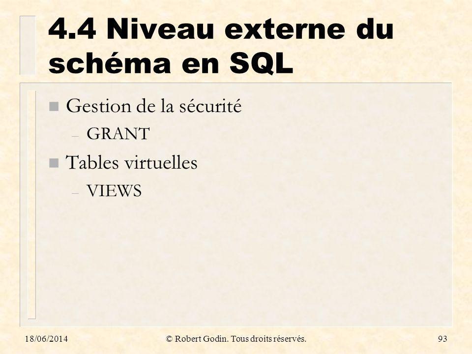 18/06/2014© Robert Godin. Tous droits réservés.93 4.4 Niveau externe du schéma en SQL n Gestion de la sécurité – GRANT n Tables virtuelles – VIEWS