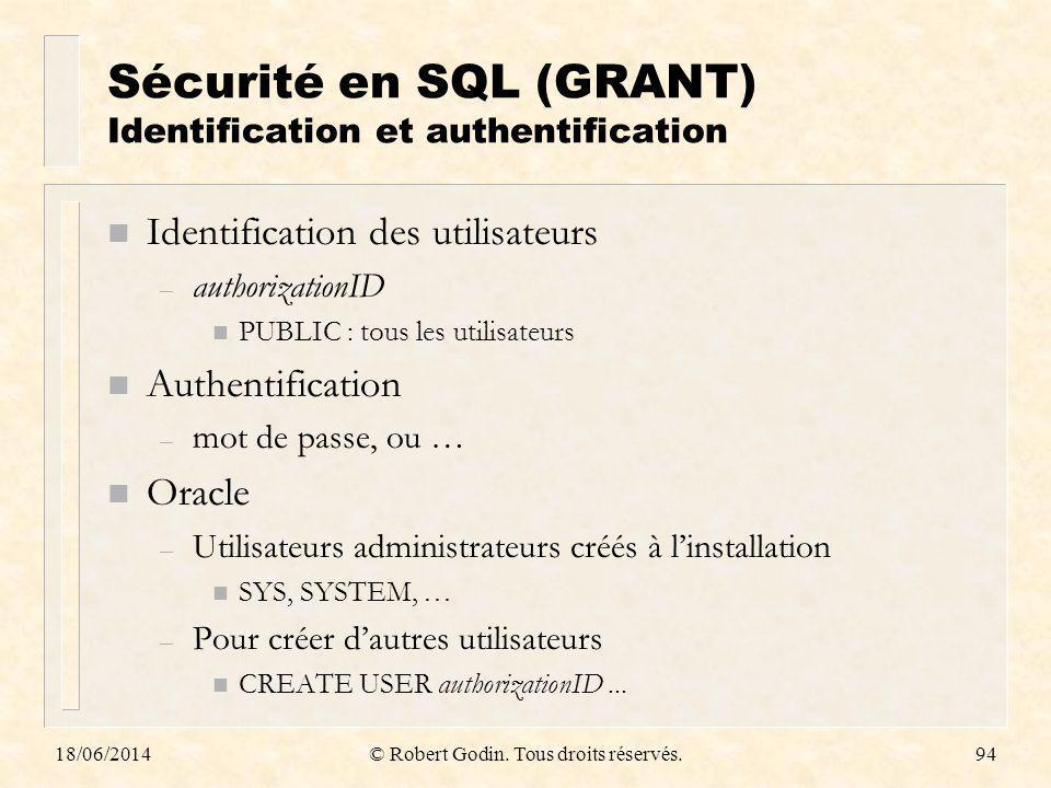 18/06/2014© Robert Godin. Tous droits réservés.94 Sécurité en SQL (GRANT) Identification et authentification n Identification des utilisateurs – autho