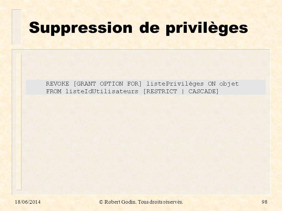 18/06/2014© Robert Godin. Tous droits réservés.98 Suppression de privilèges