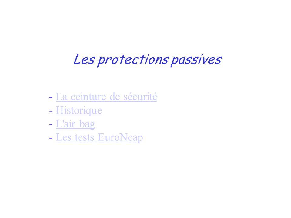 Les protections passives - La ceinture de sécuritéLa ceinture de sécurité - HistoriqueHistorique - L air bagL air bag - Les tests EuroNcapLes tests EuroNcap