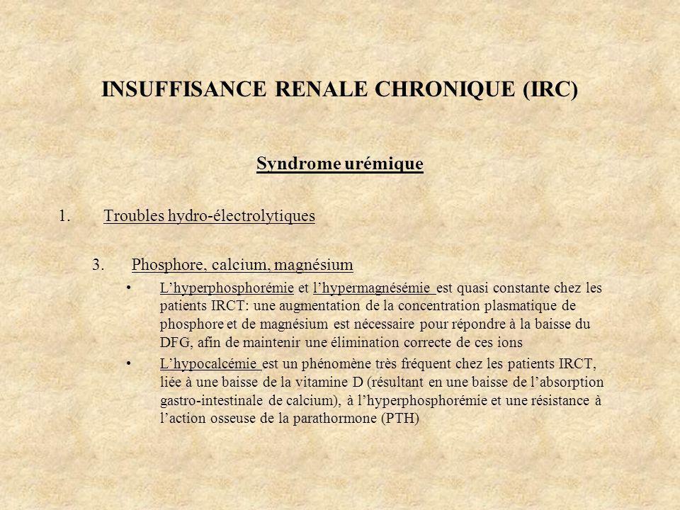 INSUFFISANCE RENALE CHRONIQUE (IRC) Syndrome urémique 1.Troubles hydro-électrolytiques 3.Phosphore, calcium, magnésium Lhyperphosphorémie et lhypermag