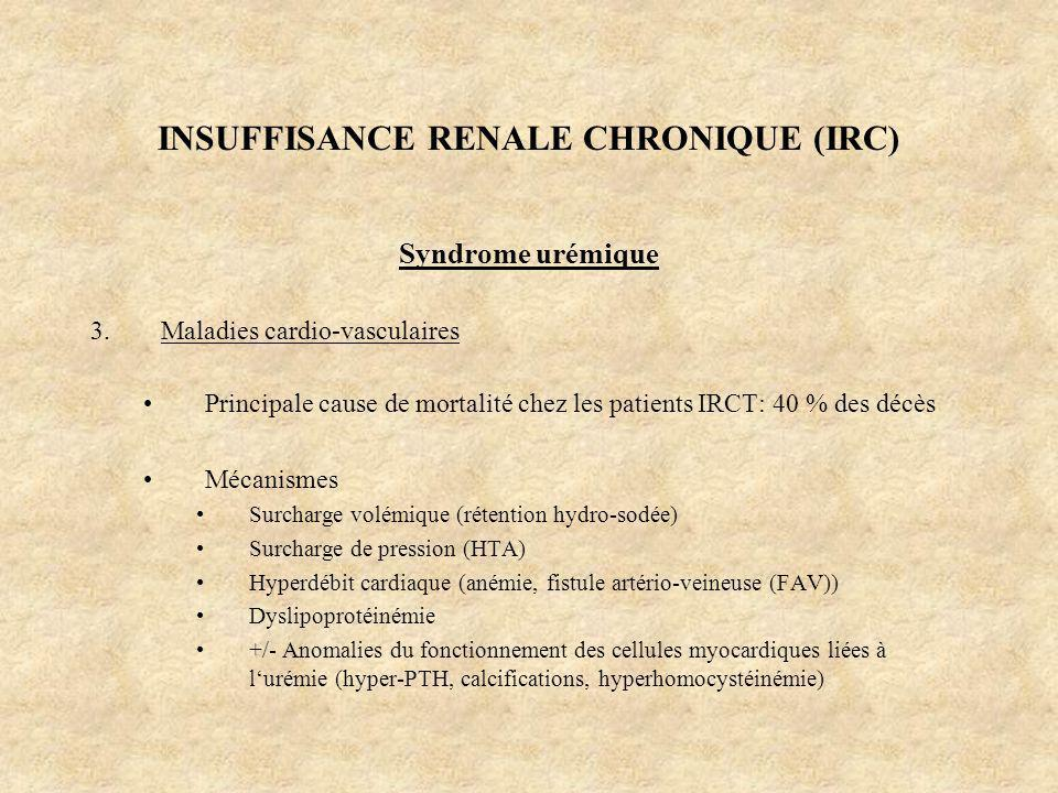 INSUFFISANCE RENALE CHRONIQUE (IRC) Syndrome urémique 3.Maladies cardio-vasculaires Principale cause de mortalité chez les patients IRCT: 40 % des déc