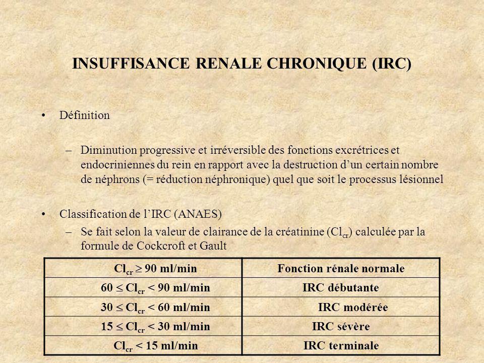 INSUFFISANCE RENALE CHRONIQUE (IRC) Définition –Diminution progressive et irréversible des fonctions excrétrices et endocriniennes du rein en rapport