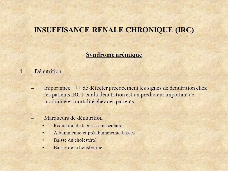 INSUFFISANCE RENALE CHRONIQUE (IRC) Syndrome urémique 4.Dénutrition –Importance +++ de détecter précocement les signes de dénutrition chez les patient