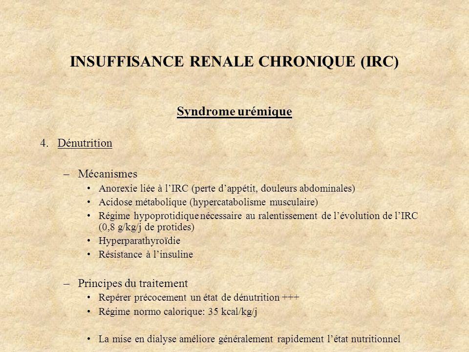 INSUFFISANCE RENALE CHRONIQUE (IRC) Syndrome urémique 4.Dénutrition –Mécanismes Anorexie liée à lIRC (perte dappétit, douleurs abdominales) Acidose mé