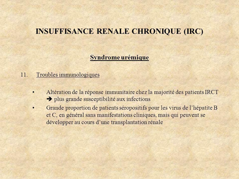 INSUFFISANCE RENALE CHRONIQUE (IRC) Syndrome urémique 11.Troubles immunologiques Altération de la réponse immunitaire chez la majorité des patients IR