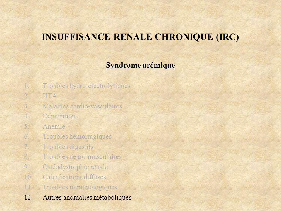 INSUFFISANCE RENALE CHRONIQUE (IRC) Syndrome urémique 1.Troubles hydro-électrolytiques 2.HTA 3.Maladies cardio-vasculaires 4.Dénutrition 5.Anémie 6.Tr