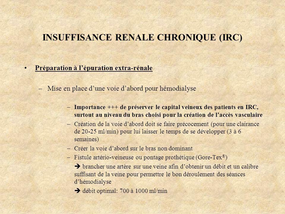 INSUFFISANCE RENALE CHRONIQUE (IRC) Préparation à lépuration extra-rénale –Mise en place dune voie dabord pour hémodialyse –Importance +++ de préserve