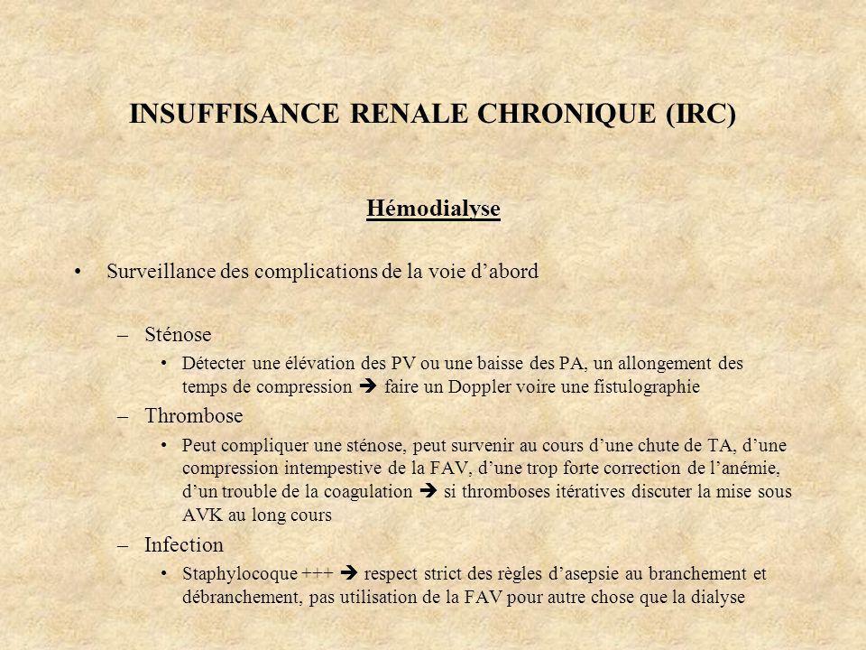 INSUFFISANCE RENALE CHRONIQUE (IRC) Hémodialyse Surveillance des complications de la voie dabord –Sténose Détecter une élévation des PV ou une baisse