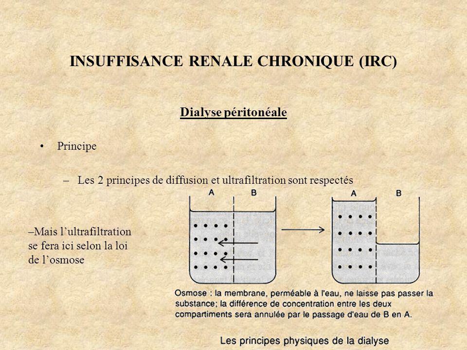 INSUFFISANCE RENALE CHRONIQUE (IRC) Dialyse péritonéale Principe –Les 2 principes de diffusion et ultrafiltration sont respectés –Mais lultrafiltratio